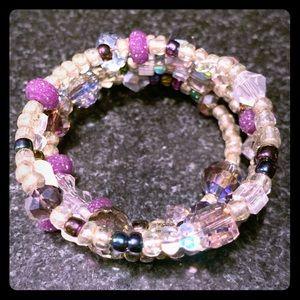 Iridescent Silver and Purple Beaded Wrap Bracelet